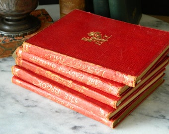 Set of Miniature Antique Leather Books. Poetical Works of Alfred Lord Tennyson.