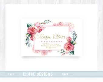 Premade Business Card Watercolor Design Floral Design Peony Design