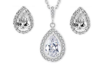 Cubic Zirconia Pear Drop Stud Earrings Pendant Necklace Bridal Cocktail Earrings Jewelry Set Best Gift For Her
