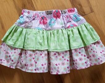 Pink skirt, bird print skirt,  flower print, tiered ruffle skirt, elastic waist skirt, size 3T skirt, 100% cotton skirt, girls skirt size 3