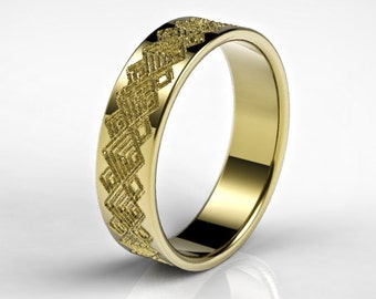 Men's Gold Wedding Ring with Squares Pattern, Men's Gold Wedding Ring, Mens Wedding Ring, Wedding Ring for Men, Geometric Ring, Pattern Ring