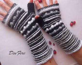 Women Size L Ready To Ship Fingerless Mittens Gloves Hand Knitted Cabled Romantic Striped Warm Accessories Wool Wrist Warmers Winter Arm 866