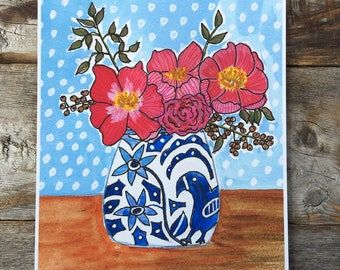 Red Flowers in a Blue and White Vase Archival Giclee Print of Gouache Painting