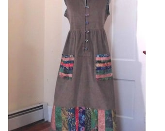 Corduroy and Batik Patchwork Sleeveless Jumper Dress with Hood and Pockets
