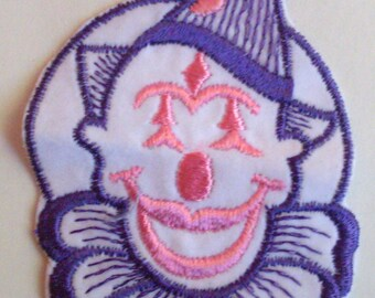 Purple and Pink Clown Funny velveteen Retro Collectible Jester Circus Vintage Sewing Patch