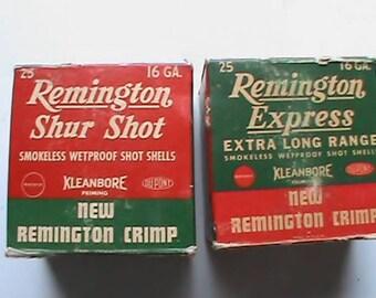 Lot of 2 vintage 1940s Remington 16 GA paper shotgun shell empty boxes