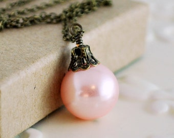 Pale Pink Christmas Jewelry, Antiqued Brass, Holiday Necklace, Glass Pearl Ball, Wire Wrapped Ornament