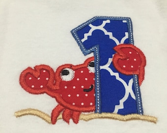 Embroidered onesie ~ Crab with Age