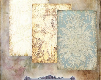 10 Vintage Lace Background Tags