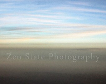 Abstract Horizon Sky Photo Pastel Pink Blue Clouds Gray Fog Fine Art Print Cloud Wall Decor Canvas Gallery Wrap Framed Print Unframed Photo