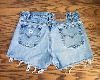 Levi's 505 Shorts High Waisted Shorts Vintage Levis Cut Off Shorts Levi Shorts Waist Denim Cutoffs Distressed Jean Orange Tab Medium 6 8 32