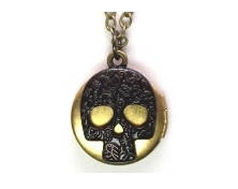 "Skull Locket 20"" Antiqued Brass Chain"