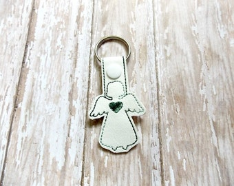 CLEARANCE Green Variegated Guardian Angel Keychain, Angel Key Fob