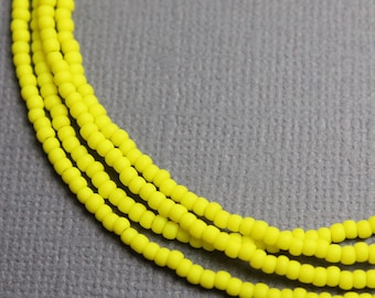 Yellow Seed Bead Necklace, Long Yellow Seed Bead Single Strand Necklace, Yellow Layering Necklaces, Dainty Necklaces, Kathy Bankston