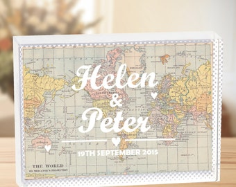 Personalised World Map Crystal - Map - Travel - Wanderlust - Crystal Wedding Anniversary Gift- Personalized Glass - Valentine's - Wedding