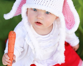 Bunny Rabbit Crochet Hat Pattern (PDF FILE)