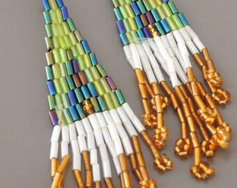 Beaded Tassel Earrings - Beaded Earrings - Green Earrings - Seed Bead Earrings - Gold Earrings - Boho Earrings - handmade jewelry