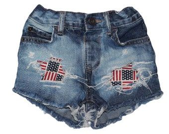 Freedom Flag denim shorties/red white blue distressed denim shorties, Patriotic shorts/4th of July outfit