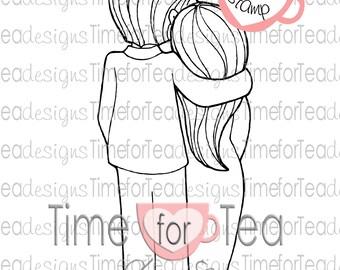Hugging Couple Digital Stamp