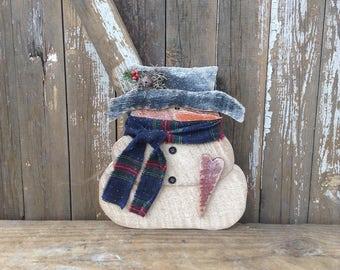 Primitive Snowman, Country and Primitive, Wood Snowman, Primitive snowmen, snowmen, snowman, shelf sitter, winter decor, primitive wood snow