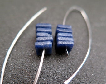 royal blue earrings. modern sodalite jewelry in natural stones.