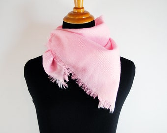 vintage neon fluorescent pink thin acrylic spring scarf shawl with fringe
