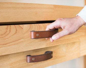 "Leather Drawer Handle - The ""Tilikum (Small)"" - Leather Cabinet Door Handles and Drawer Pulls"