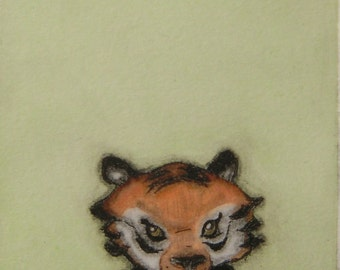 Cute and quirky  wall art Original hand-pulled drypoint print with watercolor -Small Tiger