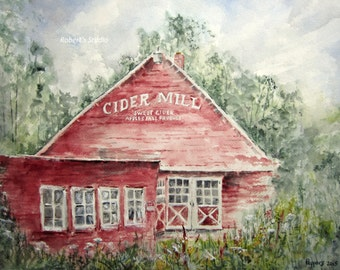 Watercolor Landscape Painting archival print, Cider Mill, country landscape, scenic mill painting  woodland forest watercolor print.