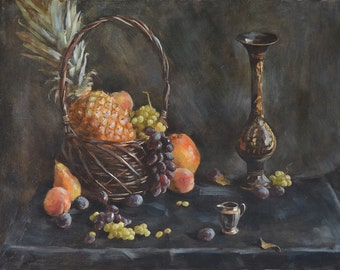 Fruit still life with pineapple original oil on canvas classic decorative wall painting modern art for interior