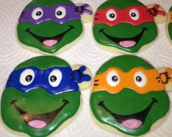 Teenage Mutant Ninja Turtle Cookies; TMNT ;, Birthday Party Favors