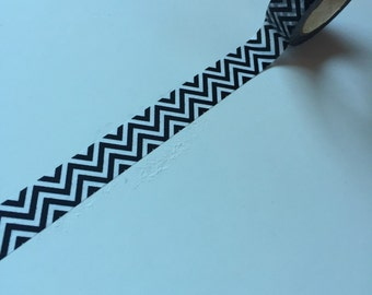 10m - Black with White Chevron - Washi Tape - Japanese Tape - Wedding Reception Favors - Smash Book - Scrapbooking Supplies