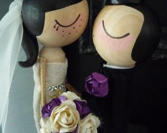Wedding Cake Topper with Custom Wedding Dress in Kissing Pose- Custom Keepsake by MilkTea