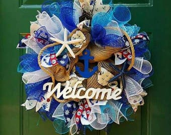 Nautical wreath - Anchors and Sea Stars - Ocean Sea Lake - Blue Waters