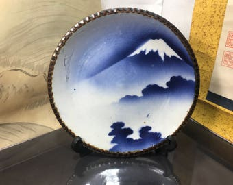 Rare Japanese plate 1891 Ceramics hand crafted plate Osala handmade unique Antiuqe plate Fuji mountain made in Japan vintage plate (#24)