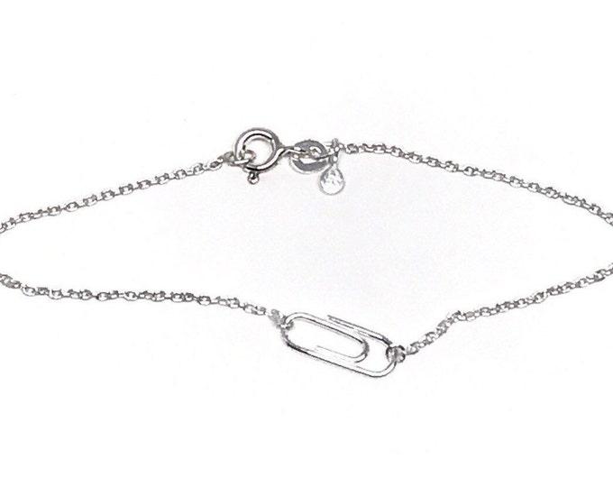 Silver Mini Paperclip Charm Bracelet