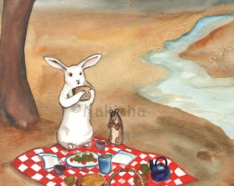 Original Watercolor Rabbit Painting - The Picnic