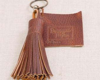 Leather Cognac Tassel Key Chain