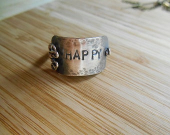 Sterling Happy Band Ring Oxidized Sterling Silver Happy Plaque Wire Wrapped Ring Size 7.5 Wire Wrapped Jewelry Handmade Happiness Intention