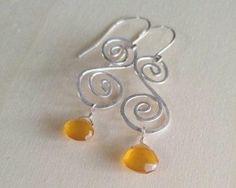 Orange Chalcedony Earrings
