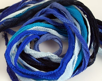 5 ea Blue Silk Fairy Ribbon Hand Dyed Pick your Colors