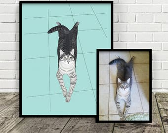 Custom Pet Illustration | FULL BODY IMAGE | Made from a photo | Print at Home | Pet Gift | Any Animal | Digital File | Portrait