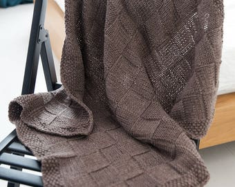 Knitted Baby Blanket Chocolate