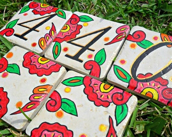 Hand painted house numbers address tiles SPANISH RED