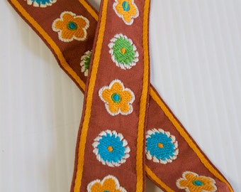 Vintage Floral  trim 1 1/2 yards - brown orange teal green trim