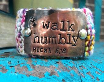 Custom Hand Stamped Copper Cuff Bracelet, Christian Bracelet, Scripture Bracelet, Bible Verse Cuff