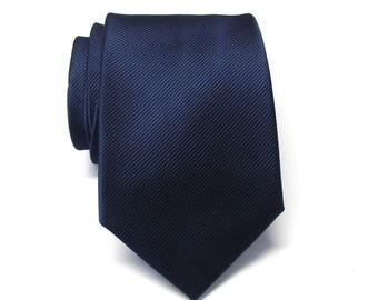 Blue Ties Navy Blue Stripes Necktie With Matching Pocket Square Option
