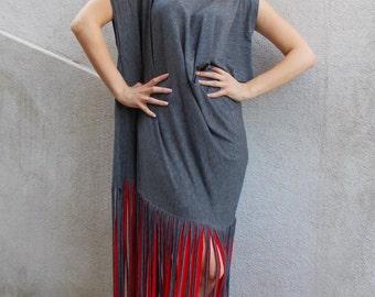 Grey Maxi Dress, Fringe Grey Dress, Boho Fringe Dress, Summer Long Dress with Fringes TDK127 by TEYXO