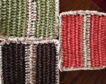 Hand Crocheted Dish Cloths Earth Tones Set of Three