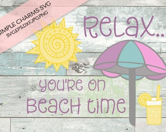 Beach Time cut file for Silhouette & Cricut type cutting machines